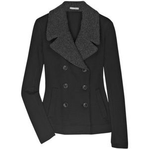 James Perse double breasted sherpa lapel jacket